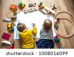 preschool boy and girl play on... | Shutterstock . vector #1008016099