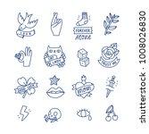 cool doodle tattoo set ... | Shutterstock .eps vector #1008026830
