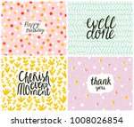 set of 4 cards  seamless... | Shutterstock .eps vector #1008026854