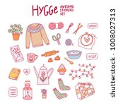 hygge awesome stickers set ... | Shutterstock .eps vector #1008027313