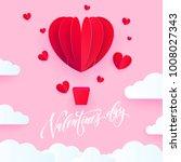 valentine heart air ballon for... | Shutterstock .eps vector #1008027343