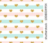 gold heart seamless pattern.... | Shutterstock .eps vector #1008034954