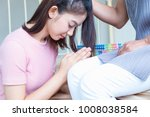 teenage girl  pay respect  to...   Shutterstock . vector #1008038584