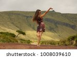 young woman waves after   Shutterstock . vector #1008039610