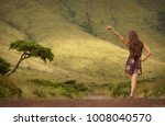 young woman in dress with...   Shutterstock . vector #1008040570