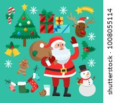 funny christmas stickers. santa ...   Shutterstock . vector #1008055114