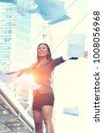businesswoman throwing report...   Shutterstock . vector #1008056968