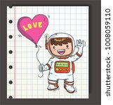 astronaut hold love or heart... | Shutterstock .eps vector #1008059110