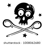 skull with spoons and stars....   Shutterstock .eps vector #1008062680