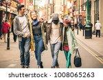 happy multiracial friends... | Shutterstock . vector #1008065263