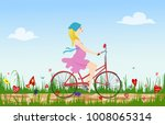 pregnant young woman riding... | Shutterstock .eps vector #1008065314
