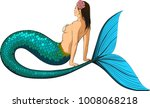 young mermaid with a large fish ...   Shutterstock . vector #1008068218