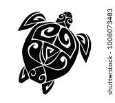 sea turtle in the maori style.... | Shutterstock .eps vector #1008073483