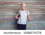 beautiful girl with two braids... | Shutterstock . vector #1008074278