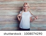 beautiful girl with two braids... | Shutterstock . vector #1008074290