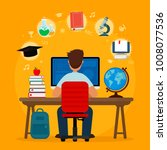 student sitting at desk in... | Shutterstock .eps vector #1008077536