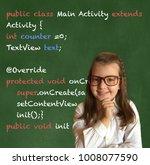 cute little girl in elementary... | Shutterstock . vector #1008077590