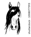 Stock vector horse s head hand drawn illustration converted to vector 1008077593
