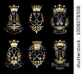 ancient keys emblems set.... | Shutterstock .eps vector #1008078508