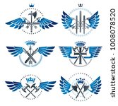 vintage weapon emblems set.... | Shutterstock .eps vector #1008078520