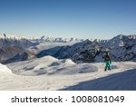 skier enjoying panoramic view... | Shutterstock . vector #1008081049