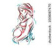 pregnant woman elegant body... | Shutterstock .eps vector #1008087670