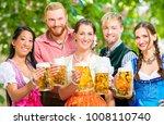 friends  two men  three women ... | Shutterstock . vector #1008110740