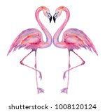 beautiful watercolor flamingos  | Shutterstock . vector #1008120124