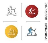 treadmill icon. flat design ... | Shutterstock .eps vector #1008120700