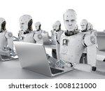 3d rendering humanoid robots... | Shutterstock . vector #1008121000
