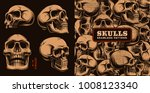 set of different skulls with... | Shutterstock .eps vector #1008123340