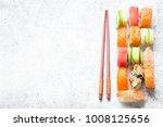 assorted sushi set on white... | Shutterstock . vector #1008125656