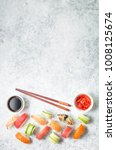 assorted sushi set on white... | Shutterstock . vector #1008125674