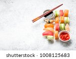 Assorted Sushi Set On White...