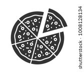 pizza with one slice separated... | Shutterstock .eps vector #1008128134