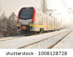 train. snow winter on the... | Shutterstock . vector #1008128728
