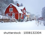 winter scenery with red wooden... | Shutterstock . vector #1008132304