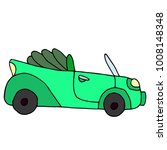 cartoon retro green car... | Shutterstock . vector #1008148348