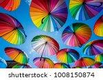 colorful umbrellas background.... | Shutterstock . vector #1008150874