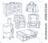 icons set hand drawn  suitcase  ... | Shutterstock .eps vector #1008152260