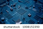 cpu chip on motherboard  ... | Shutterstock . vector #1008152350