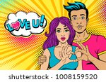wow couple. happy young man... | Shutterstock .eps vector #1008159520