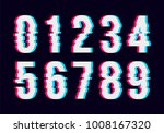 white glitch numbers. vector
