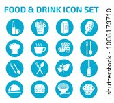 food and drink icon set | Shutterstock .eps vector #1008173710