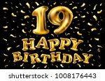 19 years anniversary with gold...   Shutterstock .eps vector #1008176443