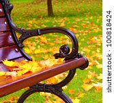 Park Bench In Autumn Closeup