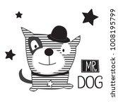 cute dog in hat vector...   Shutterstock .eps vector #1008195799