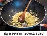 fried onion in oil or butter in ... | Shutterstock . vector #1008196858
