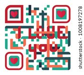 valentine s day with qr code... | Shutterstock .eps vector #1008197278