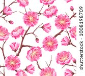 seamless pattern with sakura or ... | Shutterstock .eps vector #1008198709